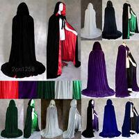 2017 Halloween Hooded Velvet Cloak Wedding Cape Wicca Robe Shawl Sca Stock S-2XL