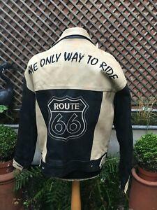 ROUTE 66 black brown leather Biker Casual (Denim style ) jacket men's XL