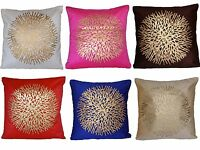 "Velvet Fabric Gold Print Cushion Cover 16"" 40cm Indian Decorative Pink Blue Red"