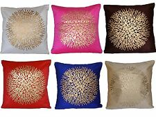 "Velvet Fabric Gold Print Cushion Cover 16"" 40cm Indien Decorative Pink Blue Red"