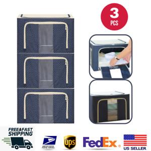3PACK Steel Frame Storage Box Oxford Cloth Storage Bag Quilt Fabric Large 66L