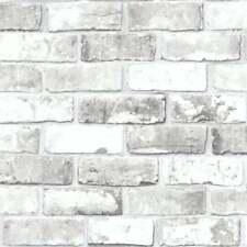 Brick Pattern Modern Metallic Motif Faux Effect Realistic Wallpaper