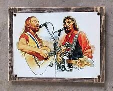 Waylon Jennings Willie Nelson Outlaw Country Music TX Vintage Poster Metal Sign