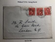 1949 Midland England Cover Traveling Post Office Tpo To London