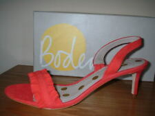RED LEATHER SUEDE PEEP TOE SLING BACK STILETTO HEEL SANDAL SIZE 6.5/40 QUALITY