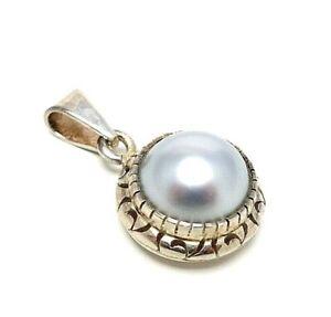 129. Vintage Silberanhänger Mexiko imposante graue Perle Anhänger 925er Silber