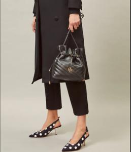 Pre-owned Tory Burch Kira Chevron Mini Bucket Bag Black Authentic
