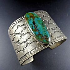 NAVAJO Tufa Cast Sterling Silver SMOKY BISBEE TURQUOISE Cuff BRACELET Wide Band