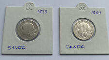 More details for polonia vintage 1933/34 poland coin  2 zlotych .750 silver coin -lotx2