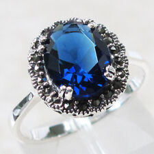 MARVELOUS MARCASITE 3 CT SAPPHIRE 925 STERLING SILVER RING SIZE 5-10