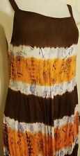 Women's Orange/Brown tropical tie-dyed dress coverup -  seashore -  one size fit