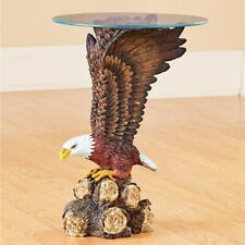 American Bald Eagle Sculpture Home Glass Top Accent Table
