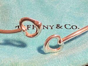 Tiffany & Co. Sterling Silver Elsa Peretti Double Open Heart Bracelet w/ Pouch