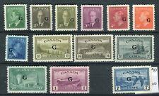 Canada KGVI 1950-52  'G' Official set + air SG.O178/90 MNH