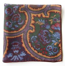 Pocket Square, green, mustard & burgundy. Sheer cotton & cashmere blend 42cm
