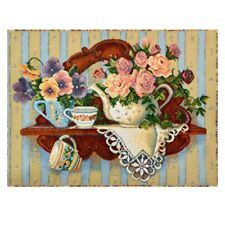 Gobelin Tapestry Panels Textile Picture Rose Teapot Crafting Fabric 46x33