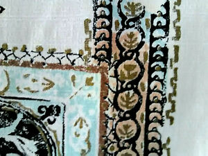 Pair vintage mid century barkcloth etruscan Roman fabric curtains drapes panels!