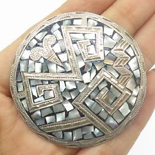 Antq Mexico Sterling Silver Abalone Shell Large Tribal Handmade Pendant Brooch