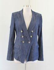 White House Black Market Blue Denim Trophy Jacket Size 8 Double Breasted Blazer