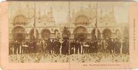 Italia Venezia Place Chiamato, Foto Stereo Vintage Albumina 1896 Cartone Abisso