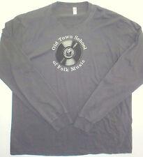 Mens XL American Apparel Old Town School of Folk Chicago LS Tee Grey Cotton