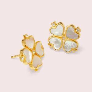 Kate Spade New York Legacy Logo Demi Fine Spade Stud Earrings, Gold / Cream