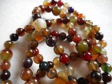 """Vintage semi-precious gemstones carved beads silk knotted necklace, 32"""""""