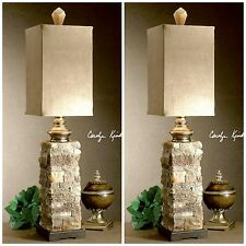 TWO SIMULATED LAYERED STONE TABLE BUFFET LAMPS PALOMINO SUEDE SHADES ANDEAN