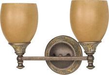 Dorado Bronze 2 Light Bath Wall Fixture With Sepia Glass
