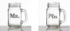 Mr. or Mrs. mason jar mug bride groom wedding glass gift