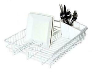 Delfinware Large Plastic Coated White Dish Drainer & Cutlery Basket Sink Rack