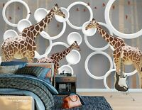 3D Animal Giraffe R1168 Wallpaper Wall Mural Self-adhesive Commerce Amy