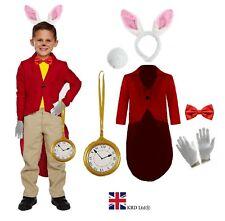 WHITE RABBIT COSTUME Hare Fancy Dress Kids Wonderland Book Week Bunny Outfit UK