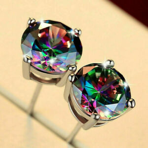 Solid 10K White Gold 6mm Round Mystic Topaz Solitaire Stud Earrings Push Back