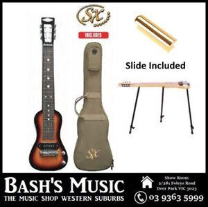 6 String Lap Steel Guitar + Bag + Stand + Slide 3 Tone Sunburst Gloss