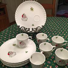 VINTAGE Burleigh Ware Burgess & Leigh  Christmas Dinner Plates, Cups Set of 6