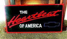Vintage Hand Painted CHEVY Heartbeat Truck Car Gas Sign Chevrolet Mechanic Shop