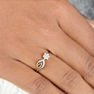 0.16 Ct. Diamond Pave Cocktail Ring Solid 14K Yellow Gold Mother's Gift Jewelry