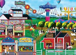 Jigsaw Puzzle Americana All's Fair County Carnival Rides Games 1000 pieces NEW