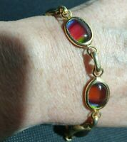 Vintage Gold Tone Sara Coventry rainbow glass linked bracelet chain signed