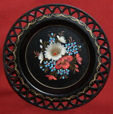 Vintage Russian Hand Painted Floral Metal Tray Plate