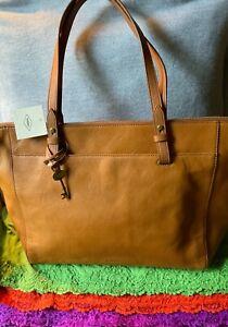 Fossil Rachel Tan Leather Zip Shoulder Bag Handbag XL Purse Tote & Shopper