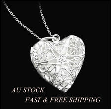 925 Sterling Silver Filled Hollow Heart Locket Photo Charm Pendant Necklace Xmas