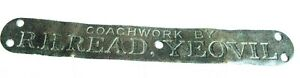 """COACHWORK BY R H READ YEOVIL"" - GORGEOUS ANTIQUE BRASS SIGN / PLAQUE"