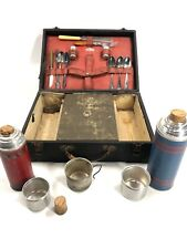 Vintage Thermos Suitcase Picnic Set. Icy-hot Keapsit Rare Not Complete
