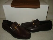 30428f3ac98d 100% AUTHENTIC NEW MEN GUCCI BROWN LEATHER HORSEBIT DRIVERS/LOAFERS US 7