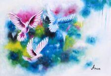 Birds painting, modern birds art, colourful birds oil painting on canvas