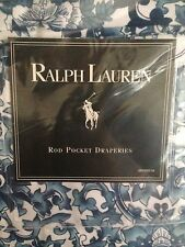 *RARE*   Ralph Lauren TAMARIND Lined Curtain Panels w/tiebacks Blue/White--NEW