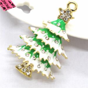Hot Green Enamel Bling Christmas Tree Betsey Johnson Charm Brooch Pin Gifts
