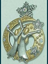 "Vintage Christmas Pin Angels Women Snowflakes Aurora Borealis Rhinestones ""Dd"""
